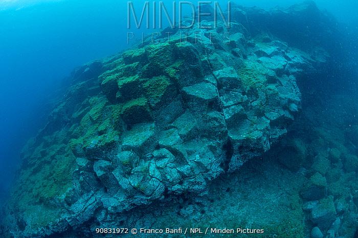 Underwater basalt formation, just off the South coast, Tenerife, Canary Islands, Atlantic Ocean.