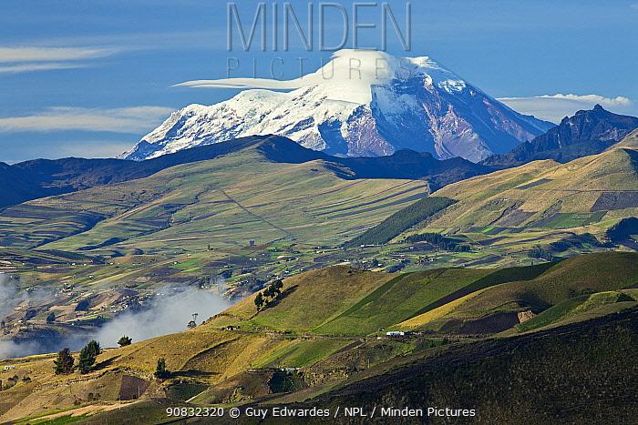 Patchwork of fields in front of Chimborazo Volcano across Valley Latacunga, Ecuador, September 2010