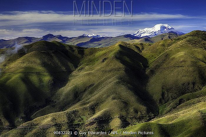 View to Chimborazo Volcano across Valley Latacunga, Ecuador, September 2010