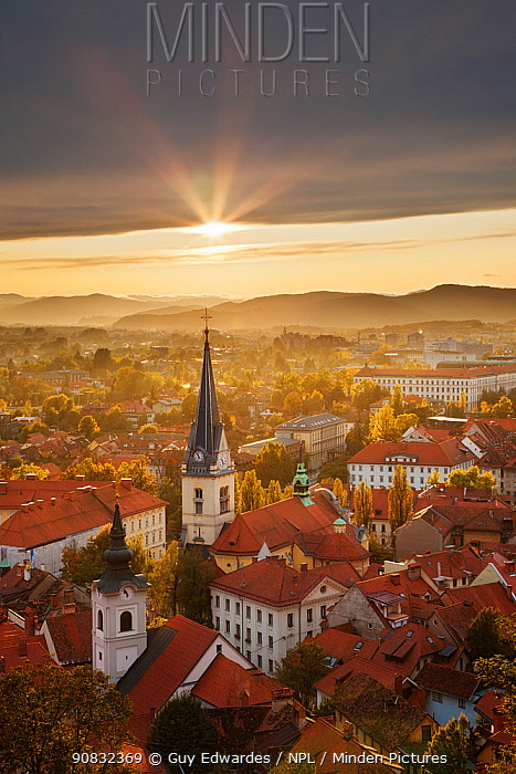 View over Ljubljana (capital of Slovenia) from Castle Hill at sunset Slovenia, October.