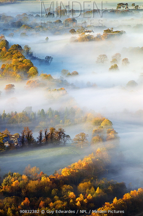 Misty Morning over Derwent Valley from Latrigg Lake District National Park, Cumbria, England