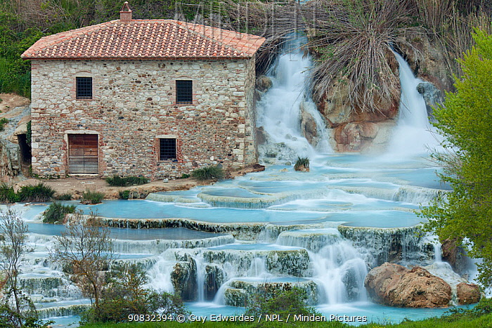 Cascate del Mulino (Mill Waterfall), Saturnia geothermal spring, Saturnia, Tuscany, Italy, April 2010.