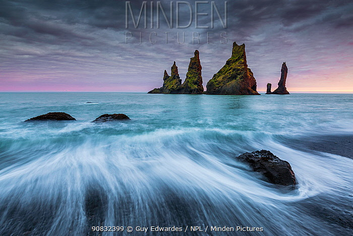 Reynisdrangur stacks with long exposure of waves,, Vik i Myrdal, Iceland, September 2015.