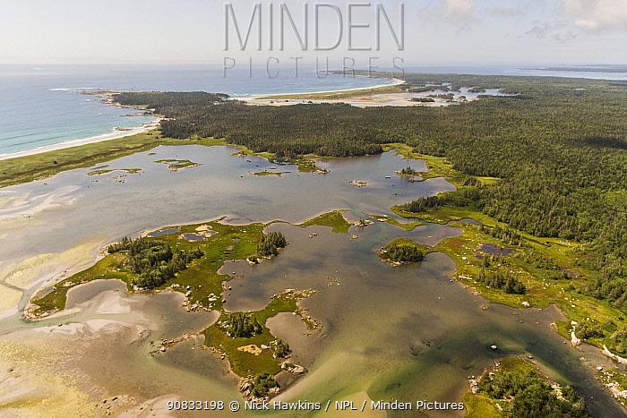 Aerial view of estuary, seaside adjunct of Kejimkujik National Park, Nova Scotia, Canada. August.