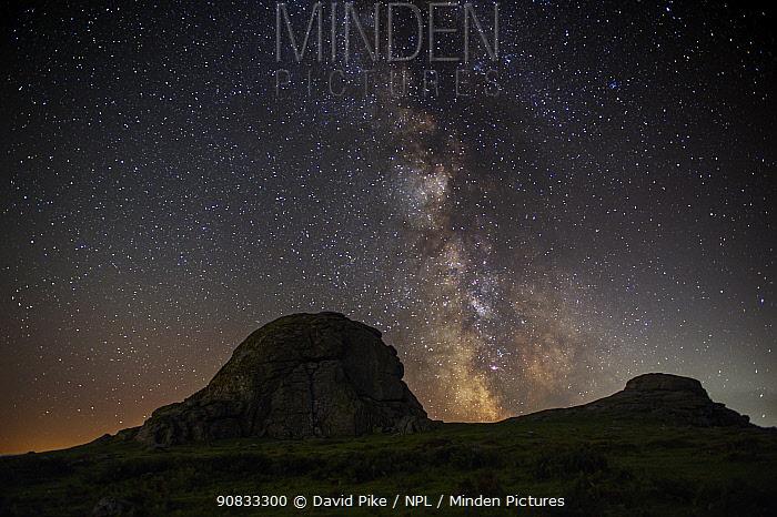 Milky Way over Haytor, Dartmoor, Devon, England, UK. September 2019.
