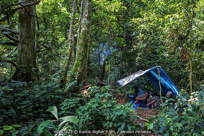 Ecoguards / rangers camping, Salonga National Park, Democratic Republic of Congo. May 2017.