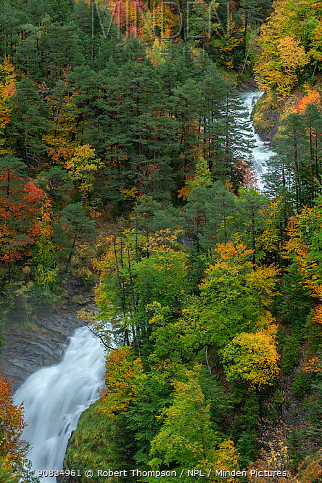 Valle de Ordesa and Arazas River, Ordesa National Park, Spain. October 2019.