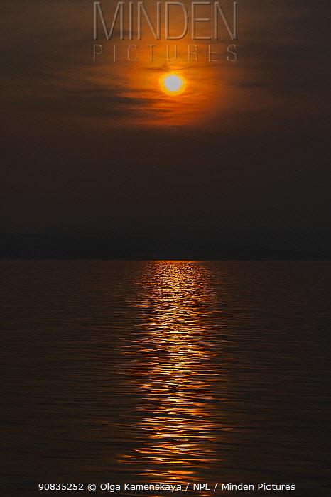 Sunset over Lake Baikal, Pribaikalsky National Park, Siberia, Russia. July 2015.