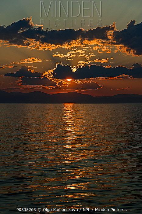 Sunset over Lake Baikal, Pribaikalsky National Park, Siberia, Russia, July 2015.