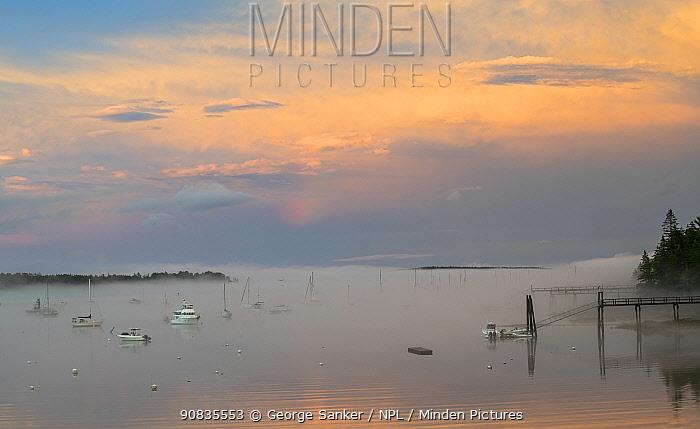 Southwest Harbor at sunset, near Acadia National Park, Maine, USA. July.