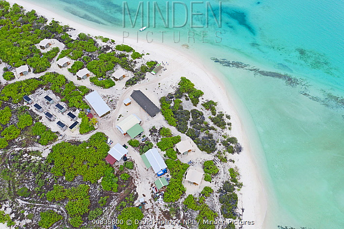 Aerial view of Eco camp on Wizard Island on Cosmoledo Atoll, Seychelles