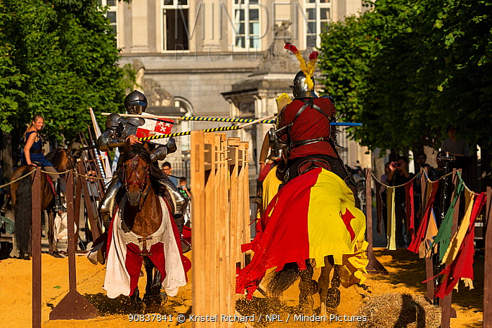 Men dressed as medieval knights jousting on horseback. Ommegang religious and historical pageant procession, Brussels, Belgium. June 2019.