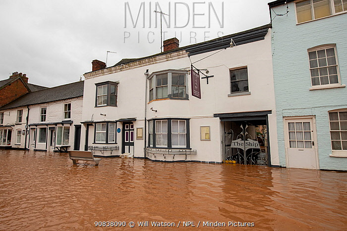 Flooded Teme Street and the Shipp Inn, Storm Dennis, Tenbury Wells, Worcestershire, England, UK. February 2020.
