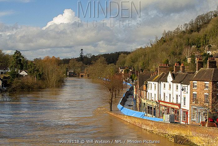 Environment Agency flood barrier along Wharfage, River Severn, Ironbridge, Shropshire, England, UK. February 2020.