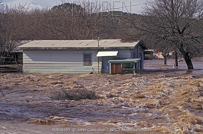 Flooding in Winkelman Arizona, USA. 1993.