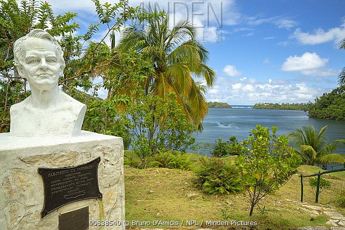 Alexander von Humboldt bust statue in Taco Bay, Humboldt National Park, Cuba. March 2019.