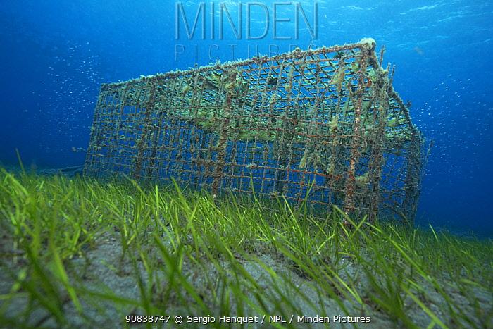 Abandoned fishing pots on sea floor, Canary Islands, June.