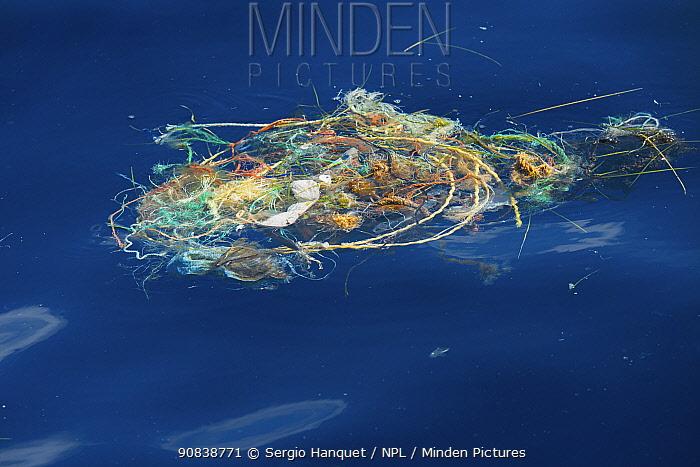 Plastic netting and rope floating in the ocean. Atlantic Ocean.
