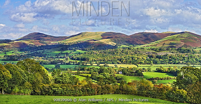 View across the Vale of Clwyd to the southern part of the Clwydian mountain range, with Moel y Llanfair on the left to Moel y Waun on the right, North Wales, UK October 2019.