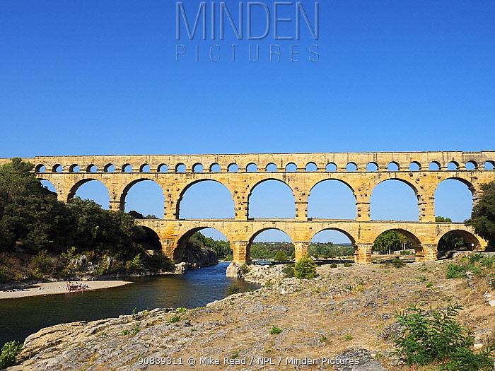 Pont du Gard and the Gardon river, Gard, France, September 2019