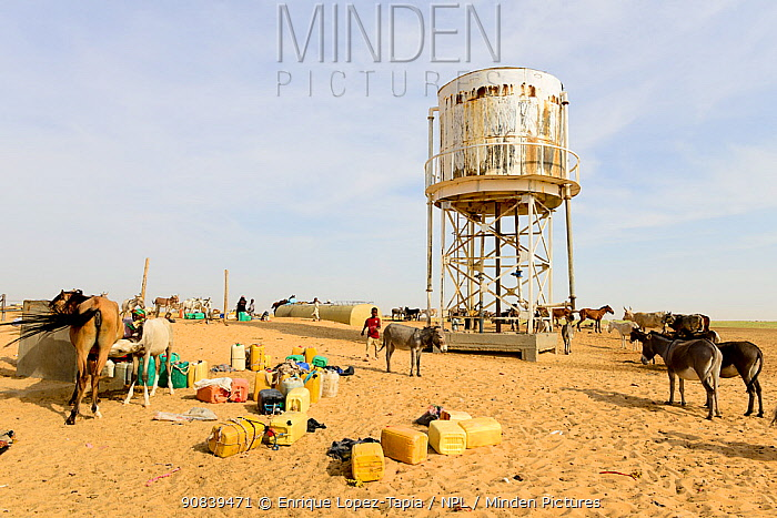 Water tower above artificial well in the Sahara Desert, northern Chad. September 2019.