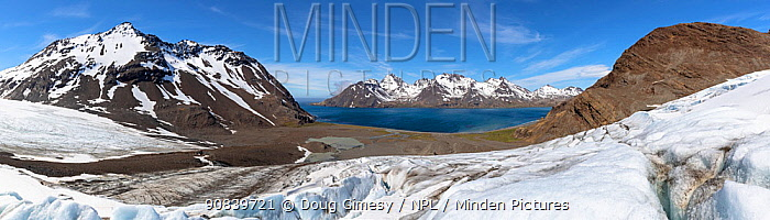 Fortuna Bay viewed from Fortuna Glacier, panorama. South Georgia. November 2018. Digitally stitched image.