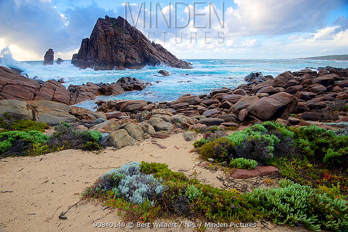 Sugarloaf Rock viewed fom coast of Leeuwin-Naturaliste National Park. The granite outcrop is the southernmost regular breeding site of the Red-tailed tropicbird (Phaethon rubricauda). Western Australia. October 2019.