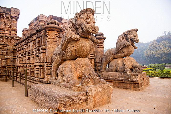Statues carved from stone, Konark Sun Temple, Odisha, India. 2019.