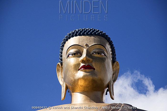 Great Buddha Dordenma, a seated Buddha statue measuring 52m in height. view of head. Kuensel Phodrang, Bhutan. 2019.