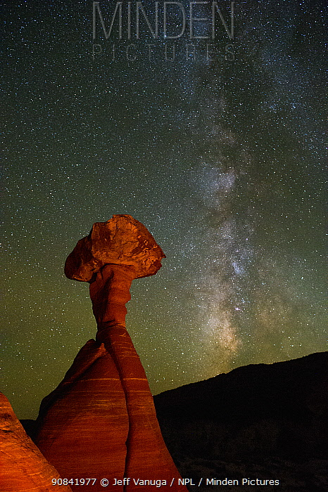 Night skies and Milky Way over Toadstools or Hoodoos in the Grand Staircase-Escalante National Monument, Utah, USA, October 2016.
