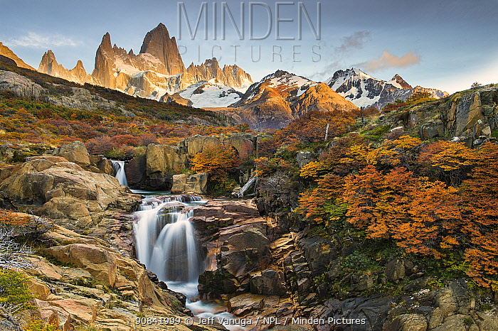 Fitz Roy Massif and waterfall in Los Glaciares National Park, Argentina.