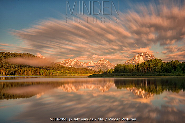 Sunrise at Oxbow Bend in Grand Teton National Park, Wyoming, USA. June.