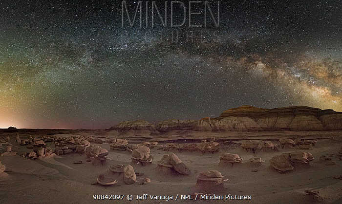 Alien Eggs rock formations under the Milky Way. Bisti / De-Na-Zin Wilderness Area of New Mexico