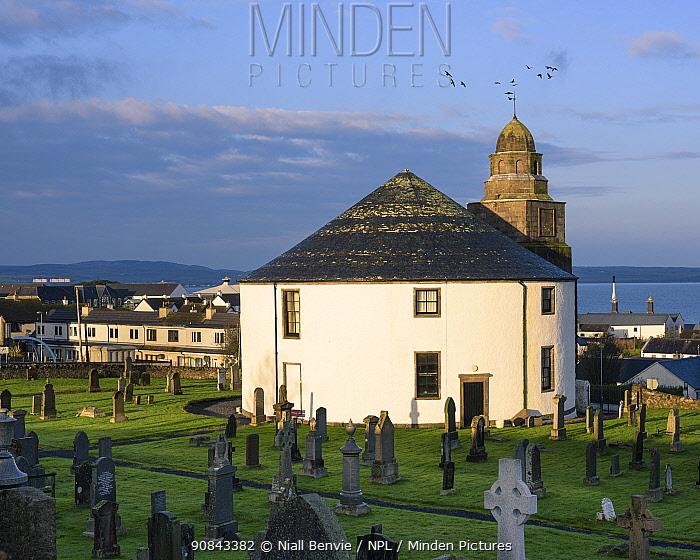 Round church, Bowmore, Islay, Argyll, Scotland, UK. November 2018.