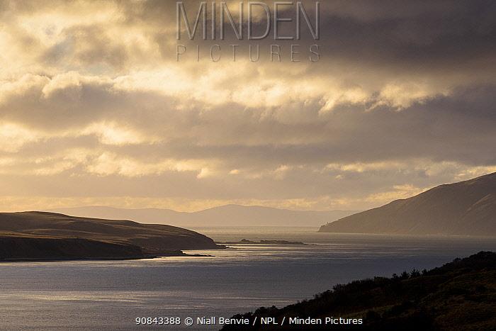 Sound of Jura at dawn, Islay, Argyll, Scotland, UK, November.