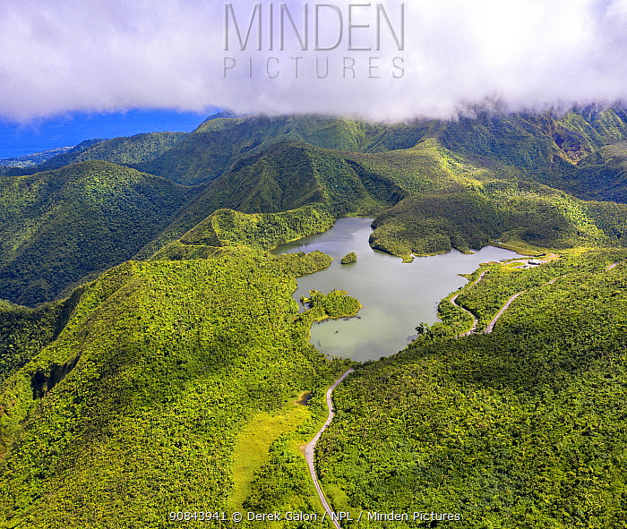 Aerial view of Freshwater Lake amongst cloud forest, in mountains at approximately 2500 feet, largest lake on island. Dominica, Lesser Antilles. 2020.