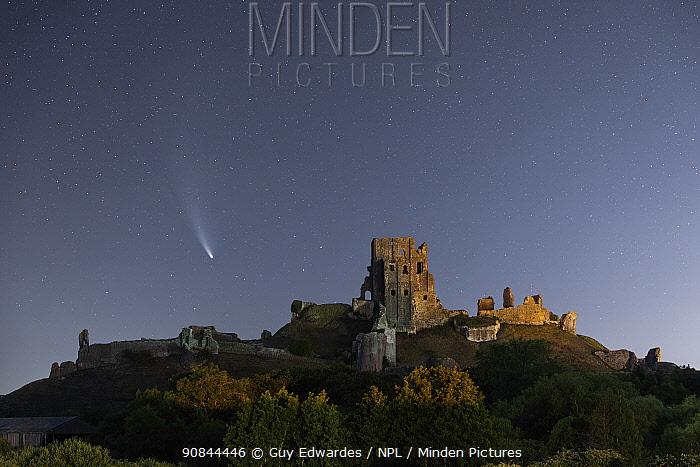Comet C/2020 F3 Neowise over Corfe Castle , Corfe Common, Isle of Purbeck, Dorset, UK. July 2020