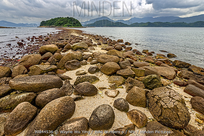 Stones on a sand spit, Hong Kong Global Geopark, China