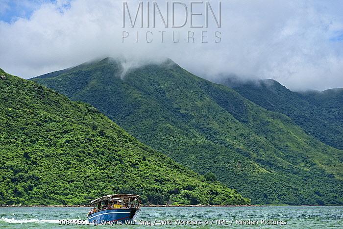 Dolphin watching tour boat in Tai O, Lantau Island, Hong Kong, China