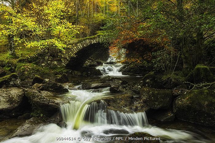 Allt da Ghob waterfall and Roman Bridge. Glen Lyon, Perthshire, Scotland, UK. October 2013.