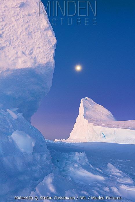 Ekstrom Ice Shelf, at dusk, Antarctica. Bookplate.