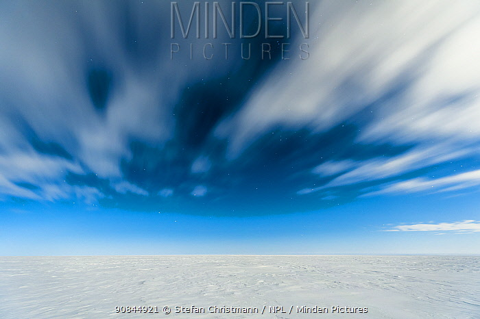 Flat expanse of ice and a cloudy sky, Atka Bay, Antarctica. August 2012. Bookplate.