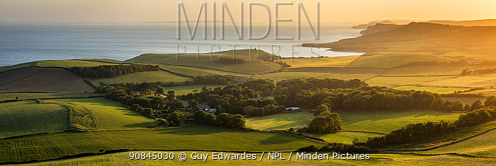 View from Heaven's Gate over Kimmeridge Bay, Swyre Head, Isle of Purbeck, Jurassic Coast, Dorset, England, UK, June 2020.