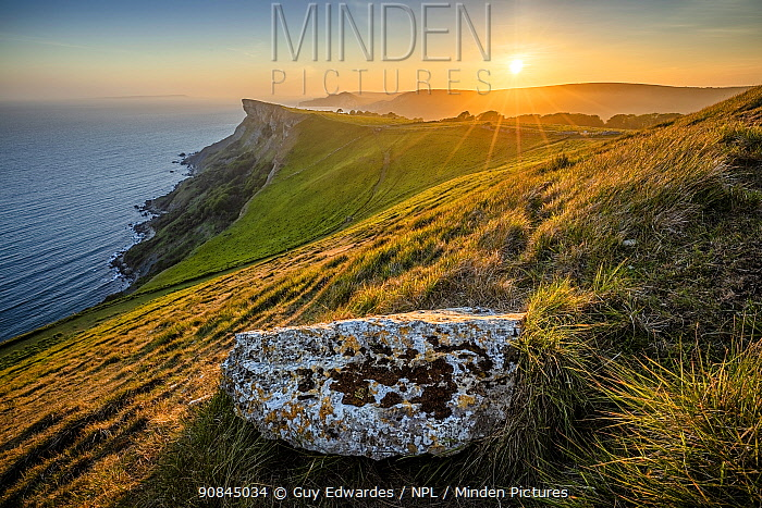 Sunset over Bat's Head from Tyneham Cap, Isle of Purbeck, Jurassic Coast World Heritage Site, Dorset, England, UK, May.