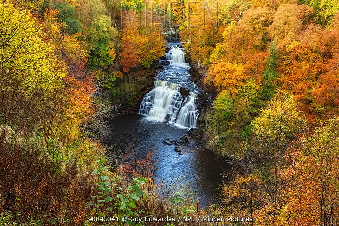Falls of Clyde in autumn ,New Lanark, Scotland, UK, October 2019.