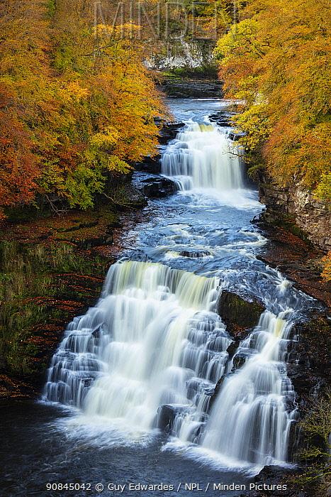 Falls of Clyde in autumn ,New Lanark, Scotland, October 2019.