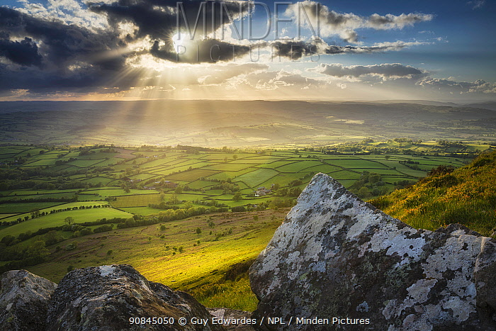 Sunset from Mynydd Troed, Black Mountains, Brecon Beacons National Park, Powys, Wales, UK. May.
