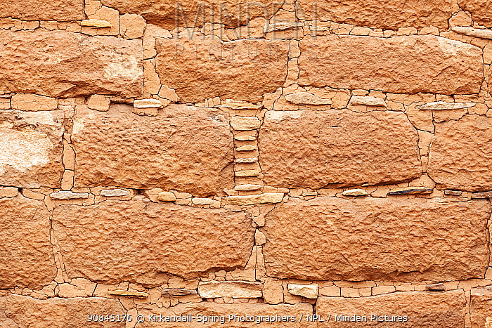 Close up of ancestral Pueblo brickwork / wall at The Holly Site in Hovenweep National Monument, Utah, USA, March.