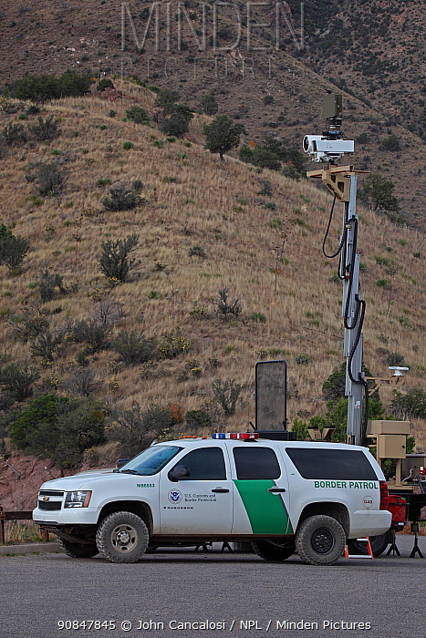 Mobile Surveillance Unit vehicle, U.S. Border Patrol, Huachuca Mountains, Arizona, USA. Uses radar-infrared technology and a video camera to monitor United States and Mexican border