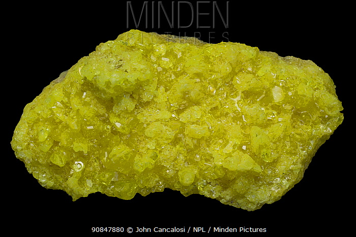 Native Sulfur (S) - El Desierto Bolivia - Of great economic importance in fungicidal plant sprays, the vulcanization of rubber and the production of sulfuric acid.